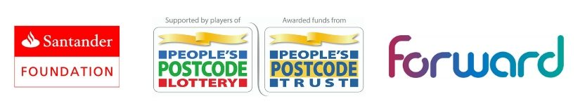 Partner logos - Big Lottery, Santander Foudation, People's Postcode & Forward