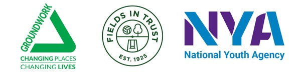 Groundwork, Fields in Trust and NYA logos