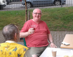 Mick Carney enjoying some social time with friends following help from Groundwork