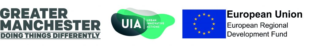 Funder logos of project Ignition - GMCA, UIA and EU