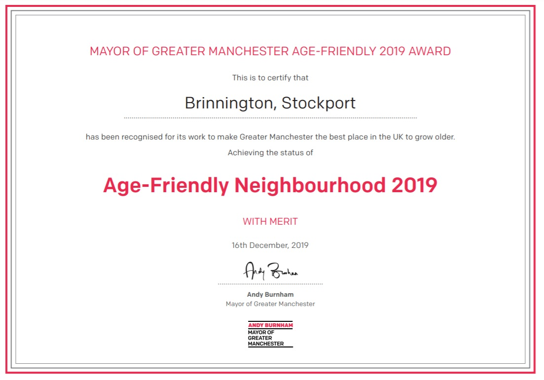 Big Local Age Friendly Neighbourhood certificate