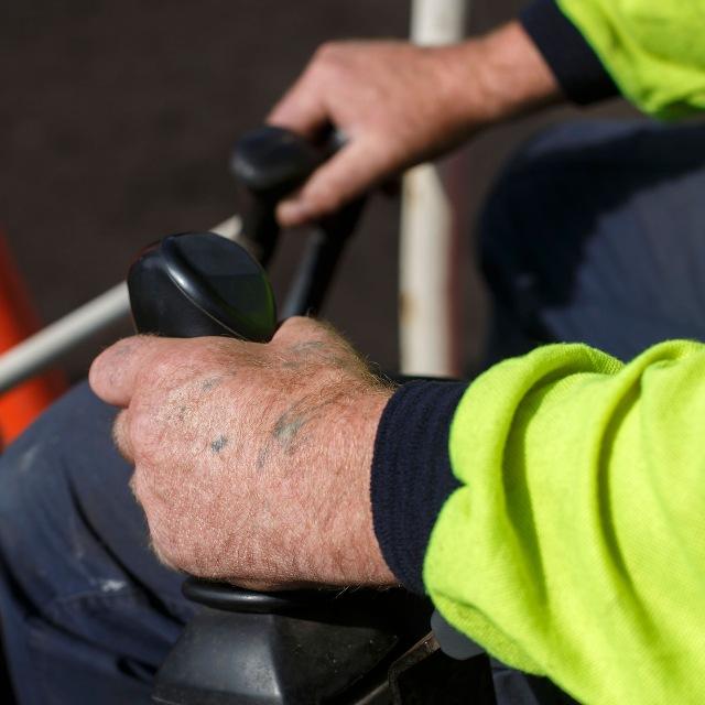 Construction worker hands