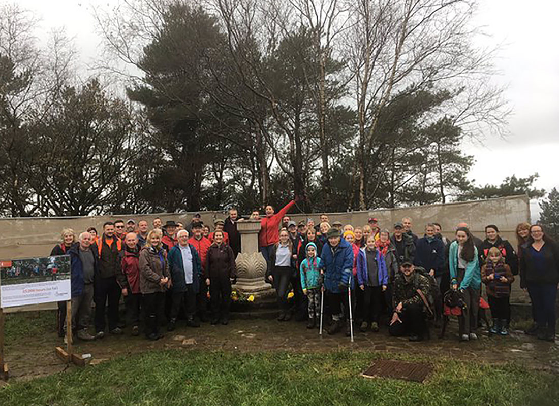 Rivington Volunteers Stand Next To New Sundial