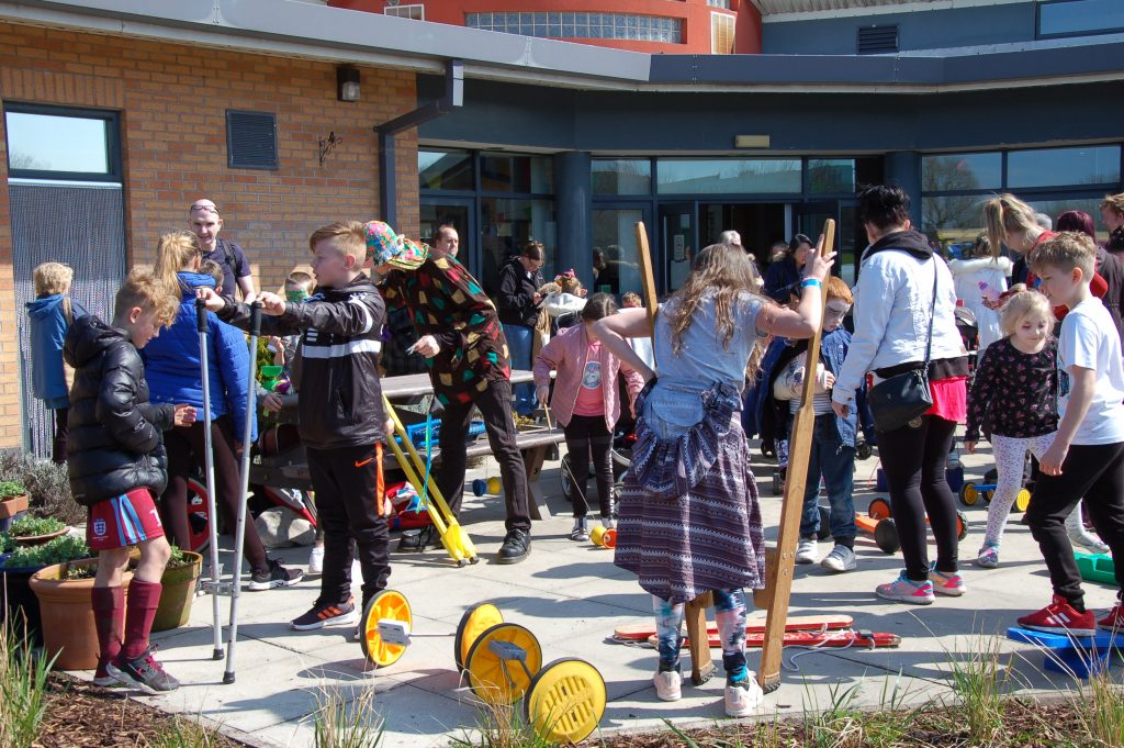 Children and parents during activity day