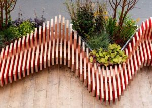 Curved red and white Parklet London