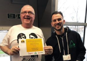 Volunteer Mick and Groundwork Community Enabler Jamie at the Fancy a Brew project