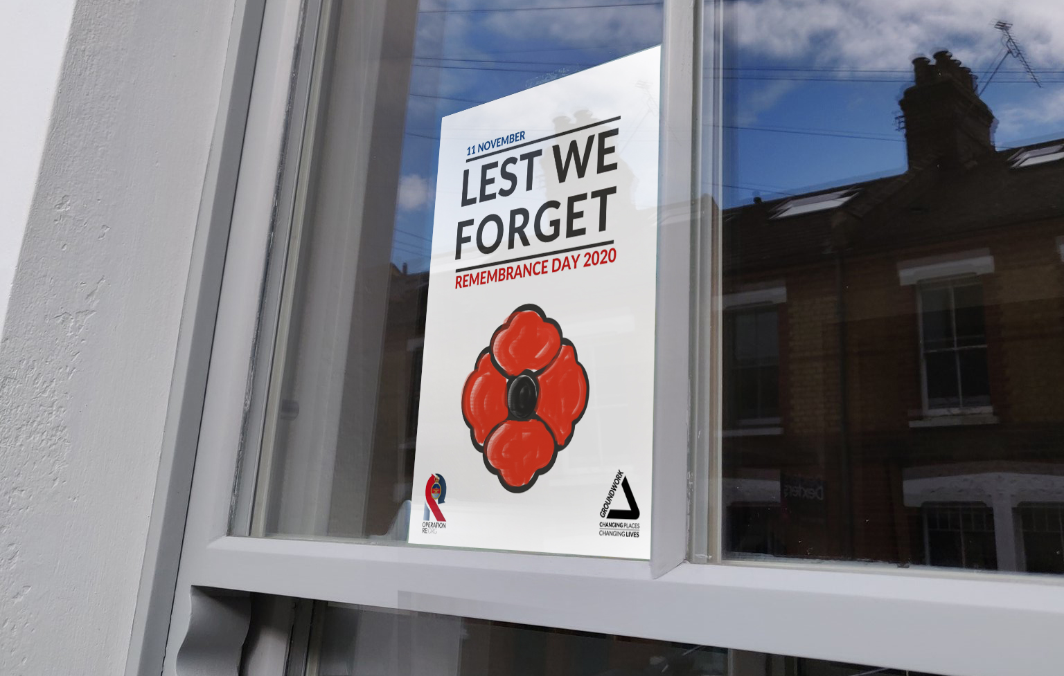 Remembrance Day flyer in window