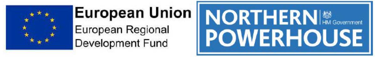 Logos for ERDF and Northwern Powerhouse
