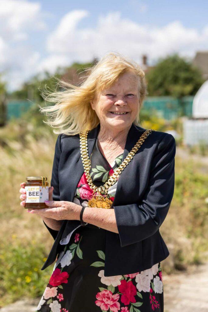 Mayor of Liverpool with Grow Speke honey