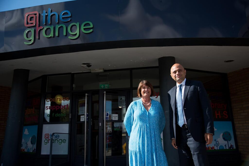 Secretary of State for Health and Social Care Rt Hon Sajid Javid MP with Cath Powell MBE from @TheGrange